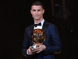 Cristiano Ronaldo with the Ballon d'Or