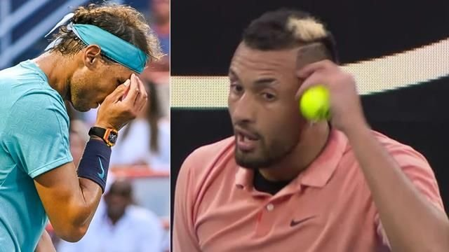 Image result for kyrgios imitates nadal