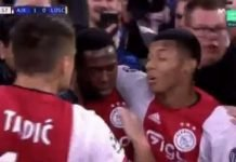 Dusan Tadic slaps David Neres while celebrating their first goal against Lille
