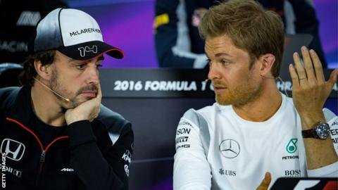 Nico Rosberg and Fernando Alonso
