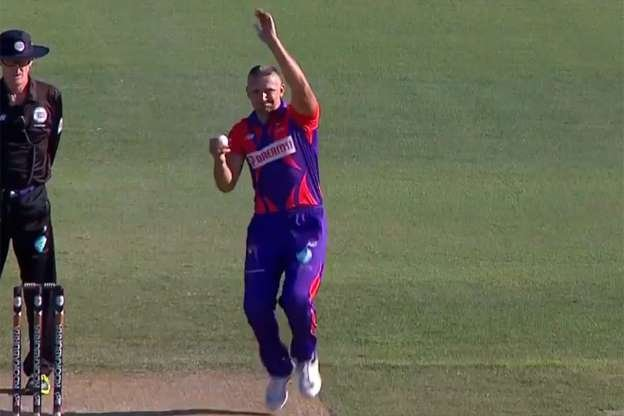 Pavel Florin bowling in European Cricket League