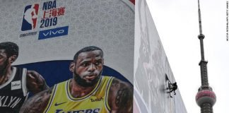 An NBA banner in China