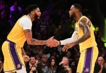 Anthony Davis & LeBron James playing for Los Angeles Lakers