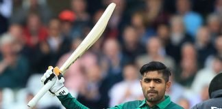 Babar Azam raising his bat