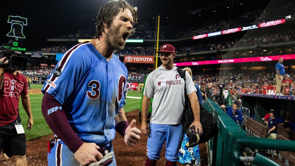 Philadelphia Phillies right fielder Bryce Harper reacts after hitting a walk-off grand slam home run
