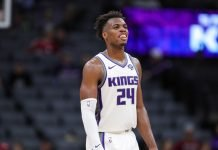 Buddy Hield playing for Sacramento Kings