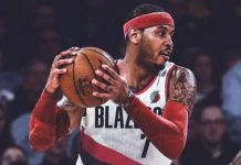 Carmelo Anthony in Portland Trail Blazers jersey