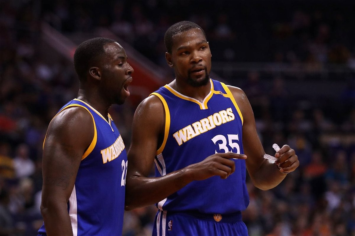 Draymond Green and Kevin Durant playing for Golden State Warriors