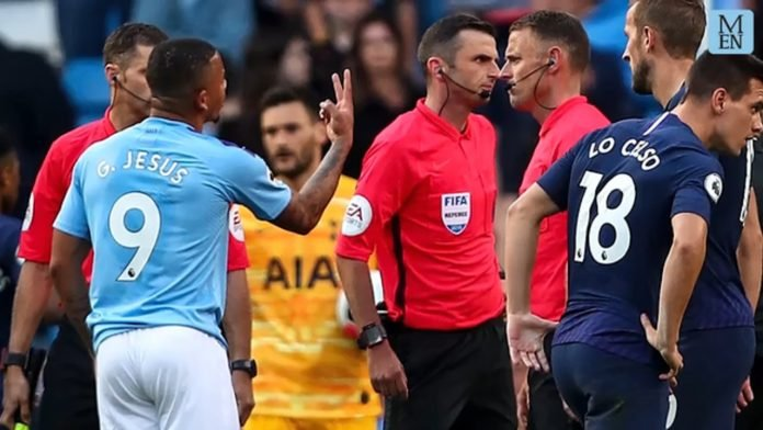 Gabriel Jesus appealing after being disallowed by VAR a goal in the Premier League match between Manchester City and Spurs