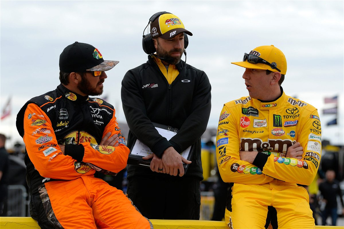 Martin Truex Jr. and Kyle Busch during a NASCAR Cup Series qualifying session