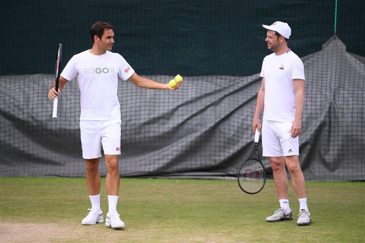 Roger Federer with coach Severin Luthi