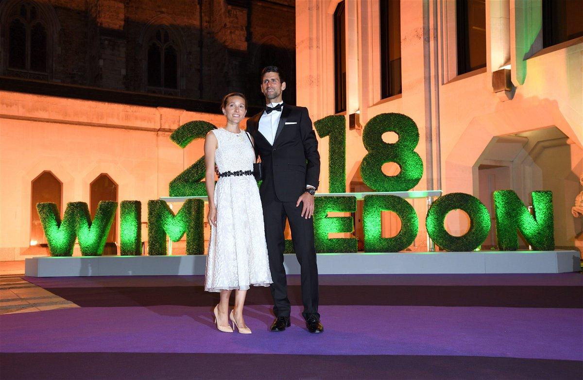 Novak Djokovic with wife Jelena Djokovic