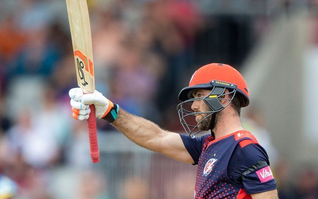 Glenn Maxwell of Lancashire Lightning acknowledges the applause of the crowd after reaching his fifty runs