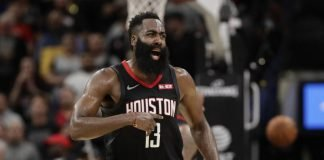 James Harden playing for Houston Rockets