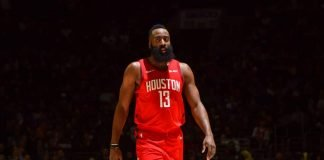 James Harden in a Houston Rockets jersey