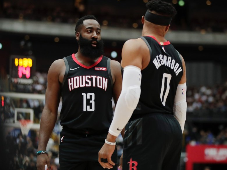 James Harden and Russell Westbrook playing for Houston Rockets