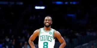 Kemba Walker in a Boston Celtics jersey