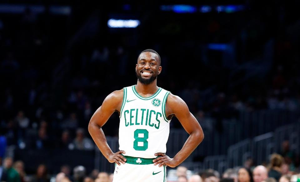 Kemba Walker in a Boston Celtics jersey