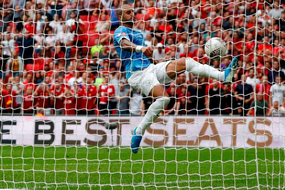 Kyle Walker clearing off the goal line with a bicycle kick in the FA Community Shield 2019