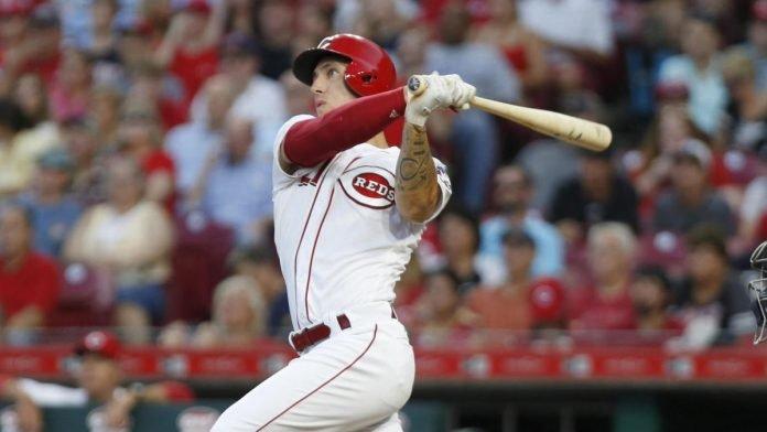 Cincinnati Reds relief pitcher Michael Lorenzen hitting a solo home run