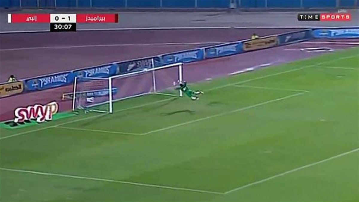 Egyptian goalkeeper Mahmoud Gad with his miraculous effort to keep out a goal