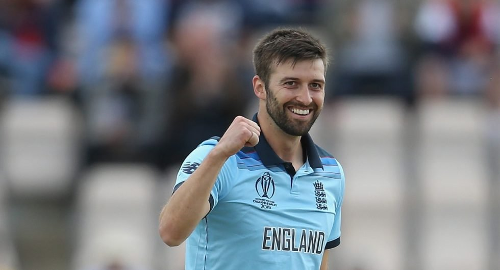 Mark Wood of England celebrates taking the wicket of Aaron Finch of Australia during the ICC Cricket World Cup 2019 Warm Up match between England and Australia at the Ageas Bowl on May 25, 2019 in Southampton, England