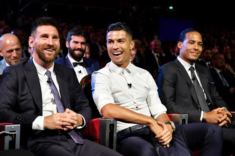 Lionel Messi, Cristiano Ronaldo and Virgil van Dijk during the UEFA Champions League draw ceremony
