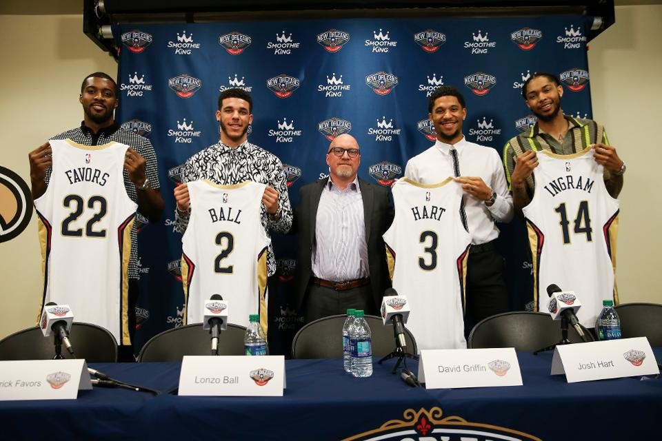 Derrick Favors, Lonzo Ball, Josh Hart and Brandon Imgram from the New Orleans Pelicans Roster