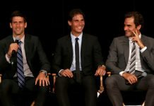 Novak Djokovic, Rafael Nadal and Roger Federe