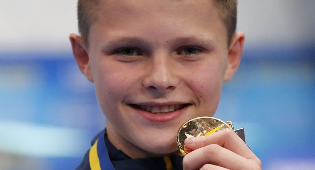 13-year old Oleskii Sereda with the gold medal at European Diving Championships 2019