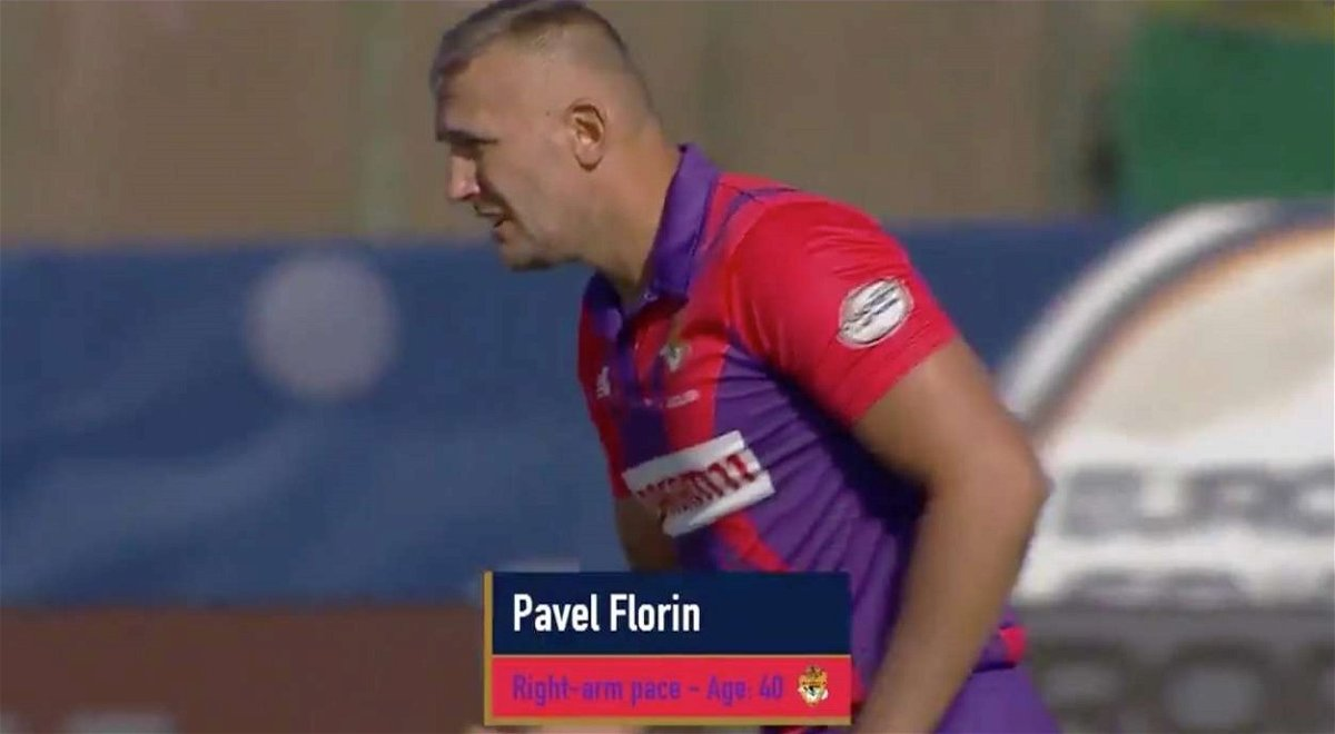 Pavel Florin bowling in the European T10 Cricket League