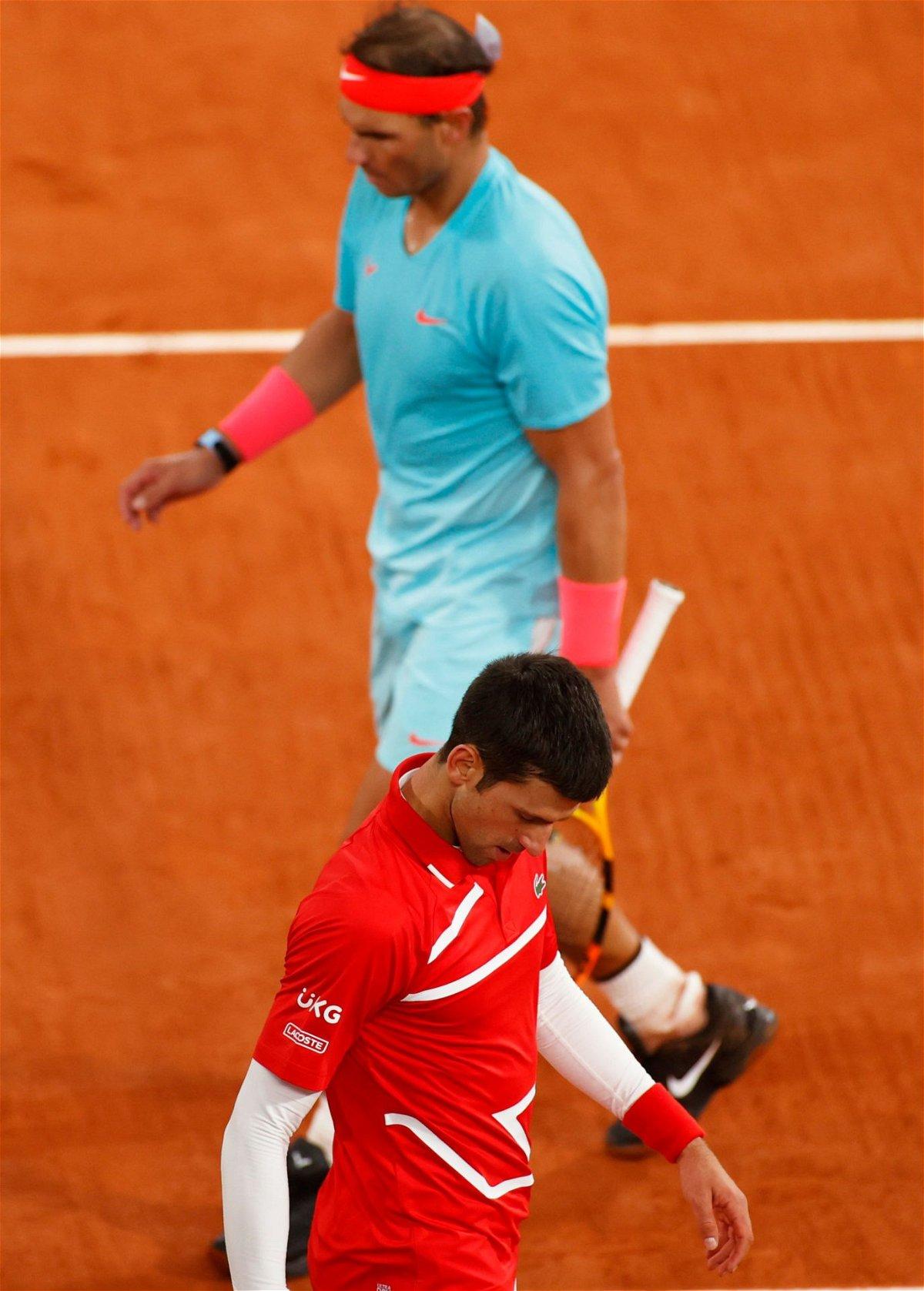 Rafael Nadal and Novak Djokovic at French Open 2020 Finals