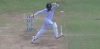 Ravindra Jadeja trying to avoid the danger area of the pitch