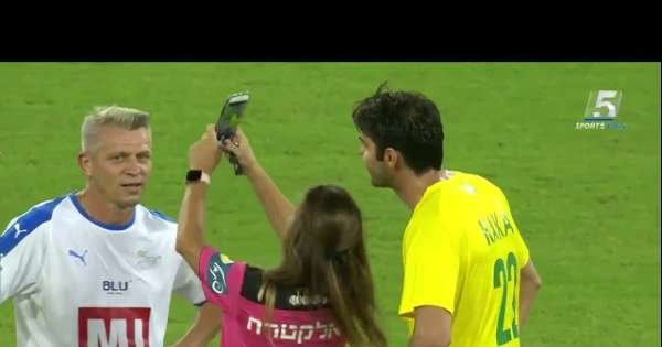 Referee taking a selfie with Kaka