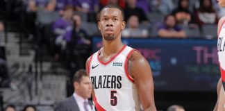 Rodney Hood playing for Portland Trail Blazers