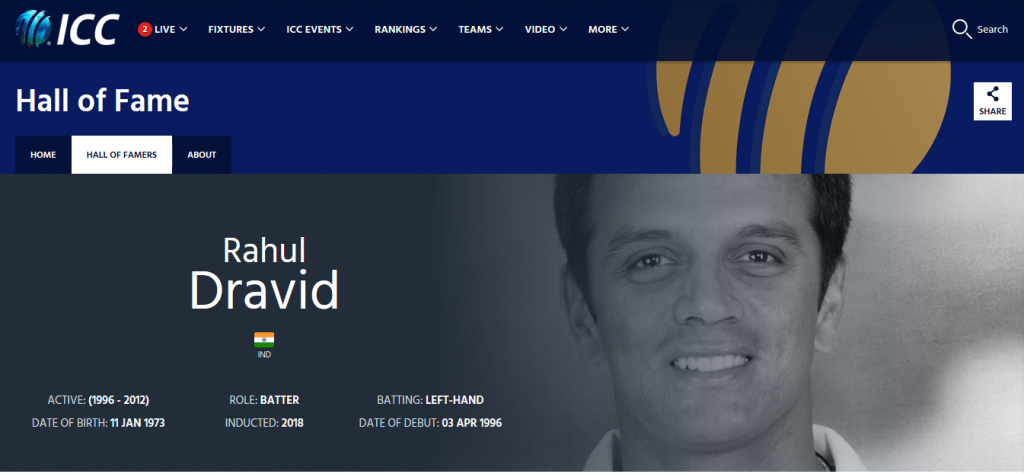 Rahul Dravid in the ICC Website