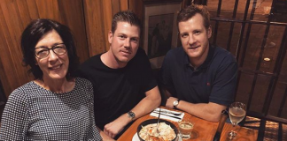James Faulkner's Instagram photo with mother and her boyfriend