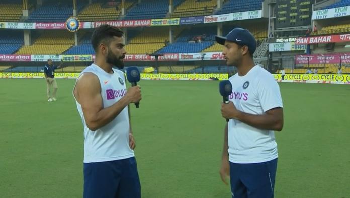 Virat Kohli interviewing Mayank Agarwal