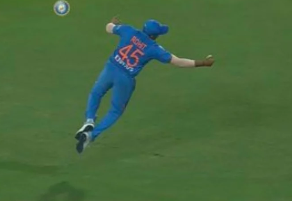 Rohit Sharma taking a catch