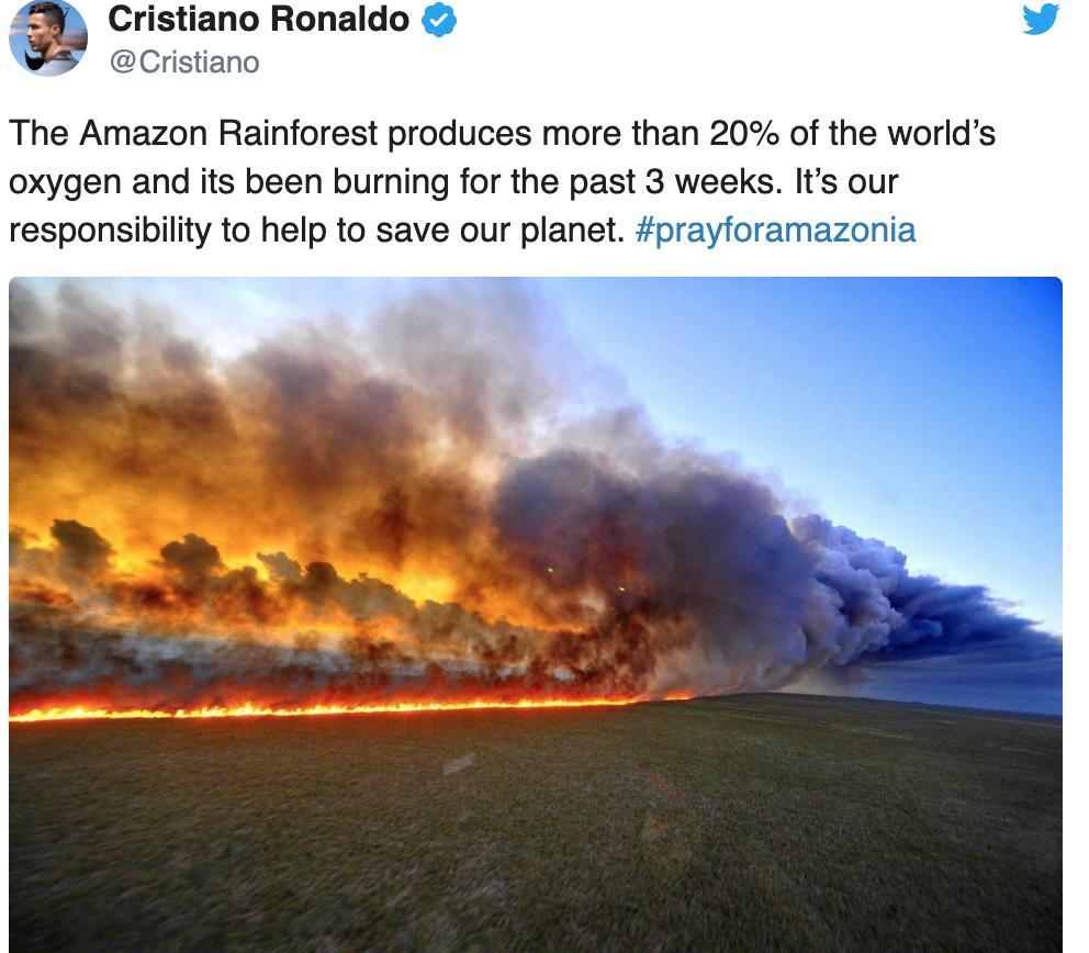 42ad2006d573f Cristiano Ronaldo, Hamilton and Others Unite to Pray for the Amazon ...