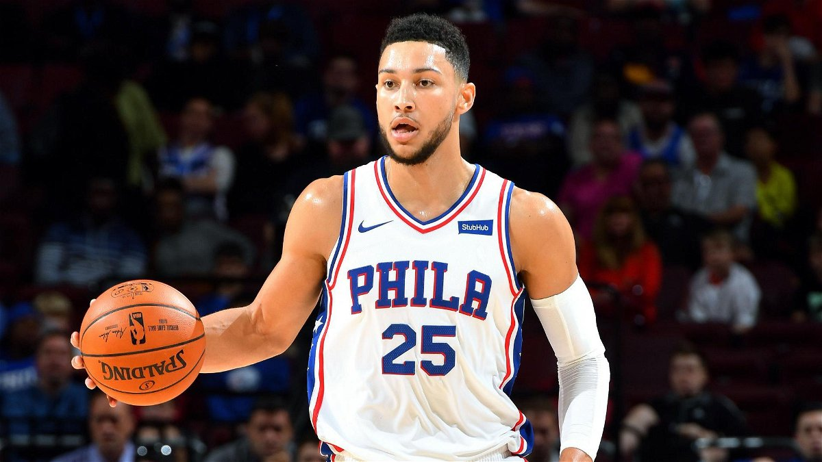 Ben Simmons playing for the Philadelphia 76ers