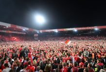 Fans at the FC Berlin Union home ground-Stadion An der Alten Foersterei