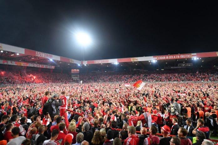 Fans at the FC Berlin Union home ground-Stadion An der Alten Foersterei