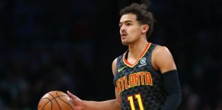 Trae Young playing for Atlana Hawks