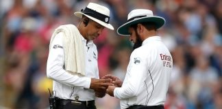 Umpires Aleem Dar and Joel Wilson during the first test of The Ashes 2019