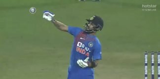 Virat Kohli emulating Kesrick Williams' celebration