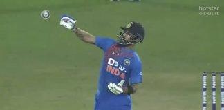 Virat Kohli emulating Kesrick Williams' celebration