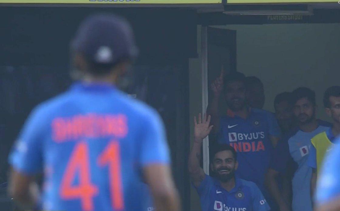 Virat Kohli reacting to Shreyas Iyer's premature celebration