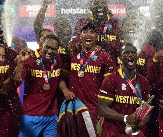 West Indian team celebrating the ICC T20 World Cup 2016