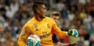 Alphone Areola during the Real Madrid's match against Osasuna